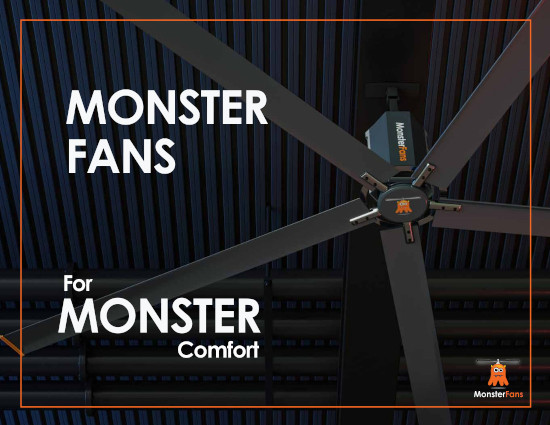 Key Visual of the brochure of MonsterFans, HVLS-Fans.