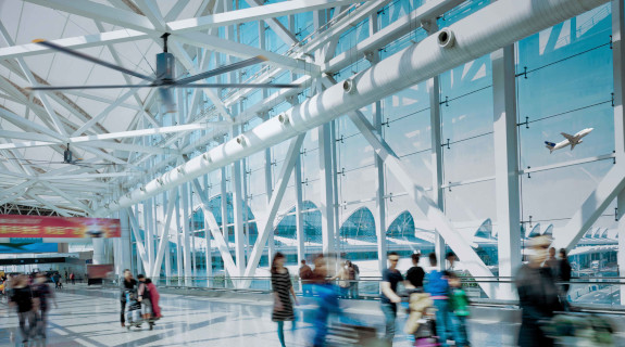 HVLS-Fan in an Airport Building, MonsterFans.
