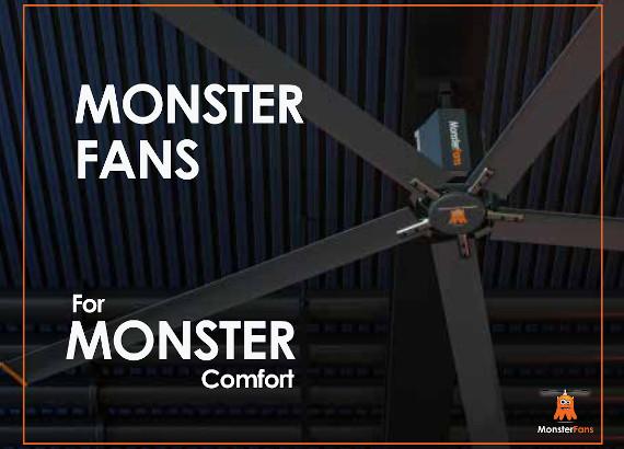 Kľúčový vizuál brožúry spoločností MonsterFans, HVLS ventilátorov